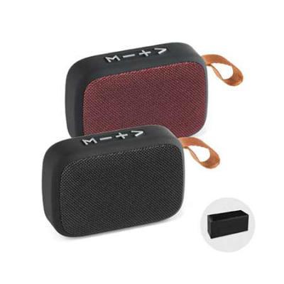 brindez-brindes-promocionais - Caixa de som com microfone. ABS e tecido em poliéster. Acabamento emborrachado. Com transmissão por bluetooth, ligação stereo 3,5 mm e leitor de cartõ...