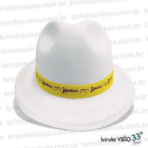 brindes-visao - Chapéu modelo Malandrinho de E.V.A., opção de impressão na fita, no chapéu, em ambos