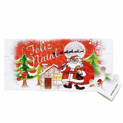 brindes-visao - Quebra-Cabeça Feliz Natal I - 19x9cm -  18 peças - impressão em Off-Set dublado no E.V.A.
