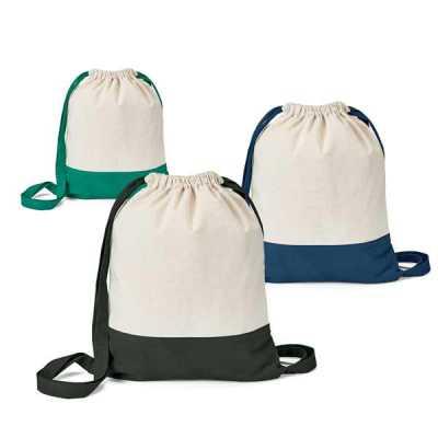 Sacola tipo mochila. 100% algodão canvas: 180 g/m². 350 x 430 mm