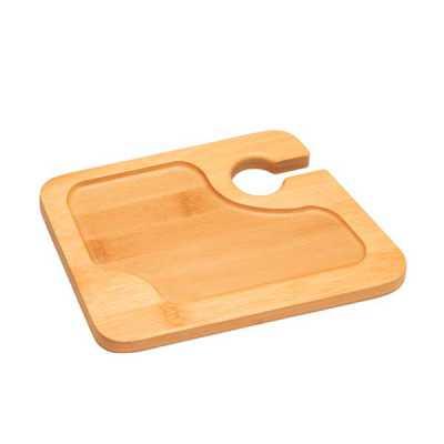 Prato. Bambu. Com suporte para copo. Ideal para servir aperitivos. Fornecido em luva de cartão. F...