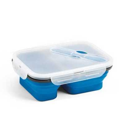ewox-promocional - Marmita retrátil. Silicone e PP. Com 2 compartimentos e talher 2 em 1 (garfo e colher). Capacidade: 480 ml + 760 ml. Food grade. 212 x 153 x 73 mm | D...