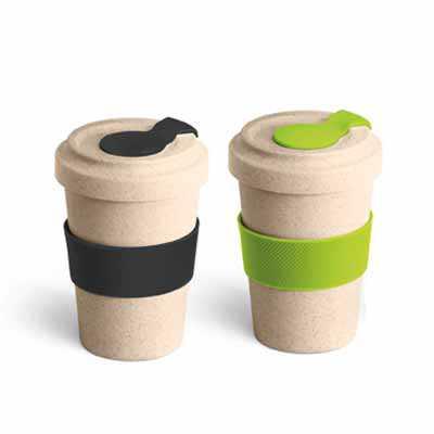 Copo para viagem. Fibra de bambu e PP. Com banda de silicone e tampa. Capacidade até 500 ml. Food...