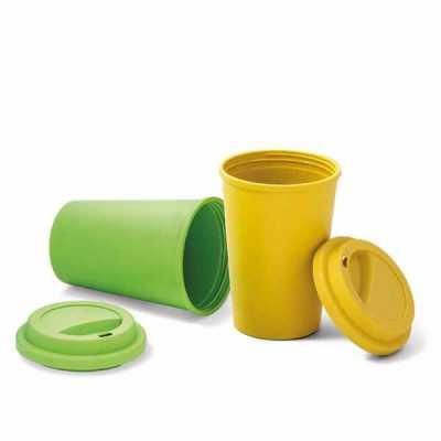 Copo para viagem. Fibra de bambu e PP. Com tampa. Capacidade até 450 ml. Food grade. ø93 x 134 mm...