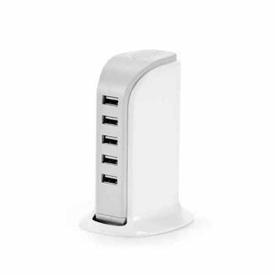 Ewox Promocional - Estação de carregamento USB. ABS. Com 5 saídas 5V/4A. 65 x 110 x 80 mm