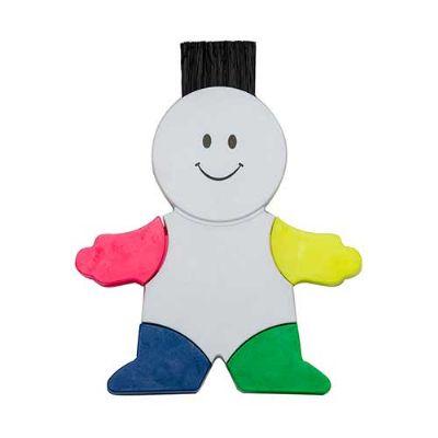 - Boneco marca texto branco em plástico resistente. Possui quatro cores de marca texto, parte traseira da cabeça possui limpador de tela e ao puxar botã...