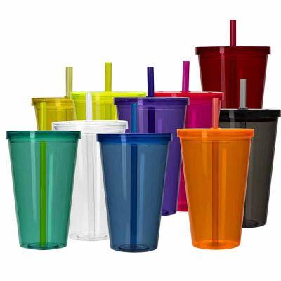 Ewox Promocional - Copo plástico de 1 litro com tampa e canudo. Material plástico resistente translúcido, acompanha canudo rígido.