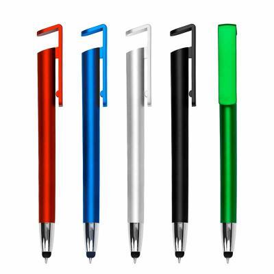 Caneta plástica touch com suporte para celular, caneta inteira colorida com detalhe prata. Clip p...