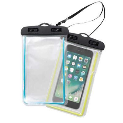 Capa impermeável transparente para celular. Possui contorno colorido na capa, suporte plástico superior com fivelas rotatórias(basta rotacioná-las par... - Ewox Promocional