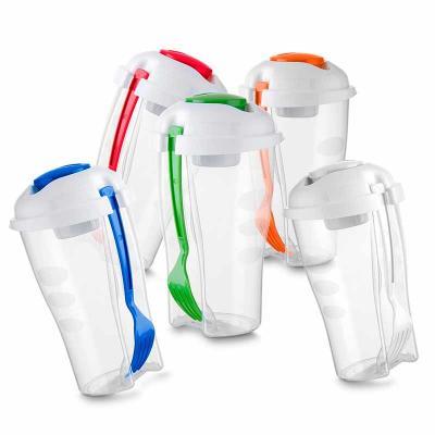 Copo de salada 850ml com garfo e compartimento para molho. Copo plástico transparente com três de...