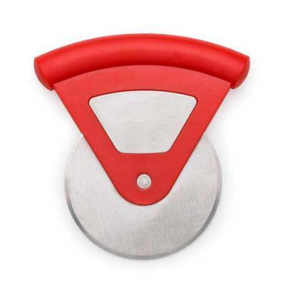Ewox Promocional - Cortador de pizza triangular em plástico resistente com lâmina redonda. Chapa metálica central, frente e verso liso.