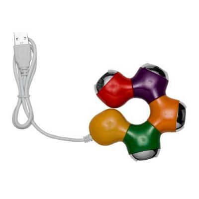 Hub articulável formato estrela com 4 entradas USB 2.0, material em plástico resistente.