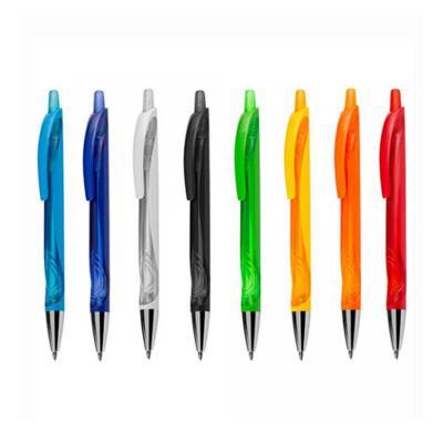 Ewox Promocional - Caneta plástica inteira colorida com detalhe translúcido. Clip plástico, possui ponteira prata e aciona por clique.