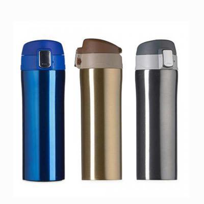 Ewox Promocional - Garrafa térmica 350ml colorida com sistema de trava. Material metálico com revestimento interno em inox, possui tampa plástica fosca com borracha inte...