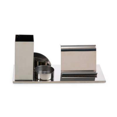 Kit escritório 4 em 1 em inox espelhado. Possui suporte para canetas, cartões, clips e celular. - Ewox Promocional