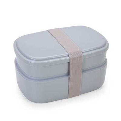Marmita de plástico com garfo, colher e dois compartimentos. Possui elástico de nylon pra travar ...