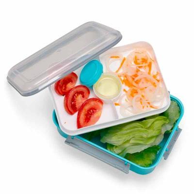 Marmita plástica com divisão de compartimentos. Possui tampa plástica transparente; recipiente co...