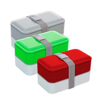 Marmita de plástico bonita e versátil com duas bandejas internas, elástico pra travar as tampas e...