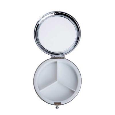 Ewox Promocional - Porta comprimido espelhado 3D. Botão frontal para abertura da tampa, parte interna com 3 divisões em plástico.