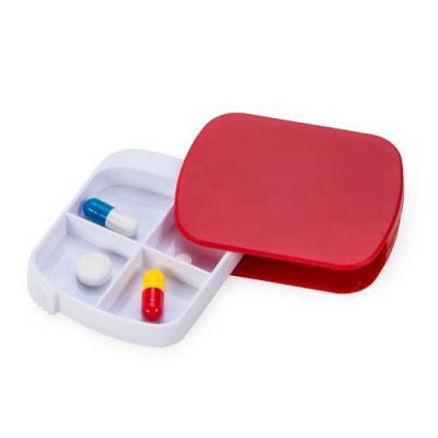 """Porta comprimidos plástico com quatro divisórias. Material plástico vermelho e """"bandeja"""" branca, ..."""