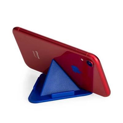 Suporte para celular em material plástico triangular, parte inferior possui borrachas antidesliza...