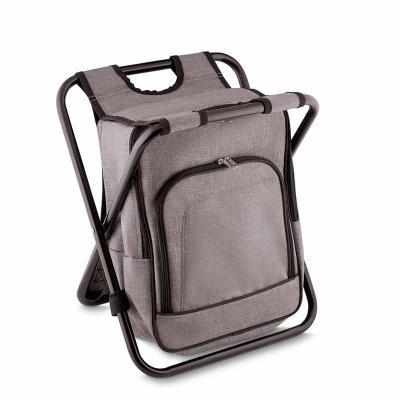 Bolsa térmica e cadeira, capacidade 10 litros, tecido polyester, com bolso frontal, cor cinza, al...
