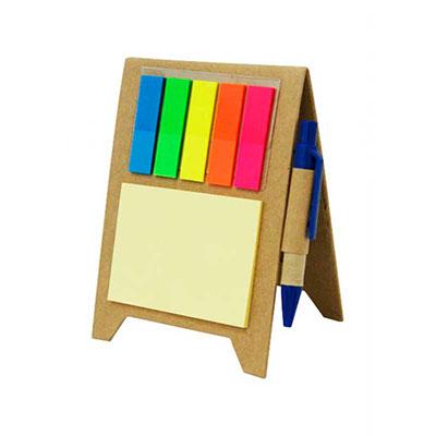 Ewox Promocional - Bloco de anotação com stick-notes, marcadores coloridos e caneta, material reciclado