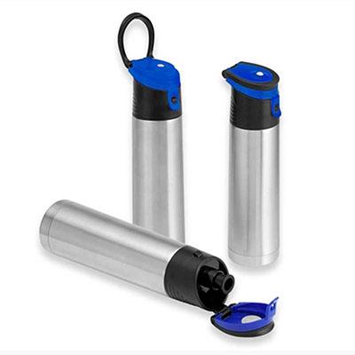 Ewox Promocional - Garrafa Térmica metálica alça plástica e Capacidade 500ml Diversas opções de cores, gravação a laser em um tom