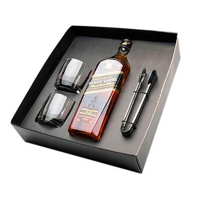 Ewox Promocional - Kit com uma garrafa de whisky, dois copos e um pegador de gelo em caixa craft
