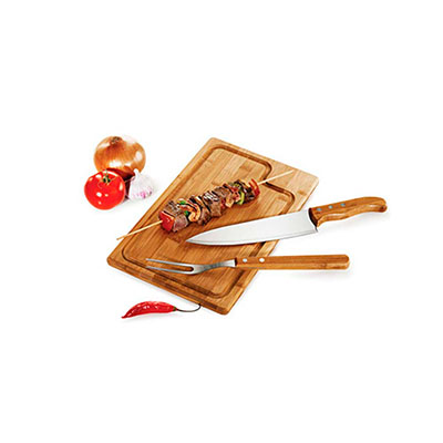 Kit churrasco 3 peças em inox e bambú, contém: 1 garfo, 1 faca e 1 tábua