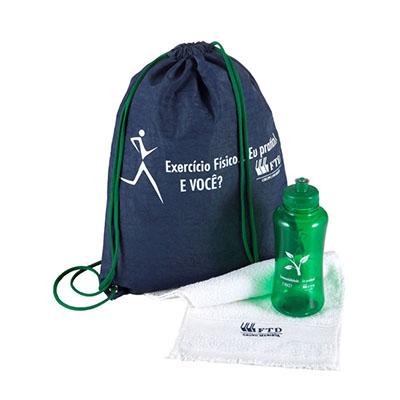 Ewox Promocional - Kit fitness com squeeze plástico.