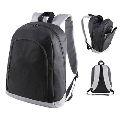 Mochila e Nylon reforçada com alça de ombro e de mão, porta Notebook e um bolso frontal