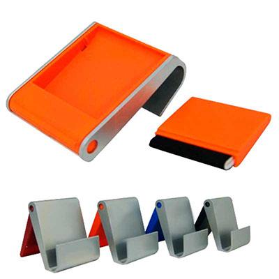 Porta Celular de mesa com limpador de Tela. Diversas opções de cores, gravação em tampografia a uma cor.