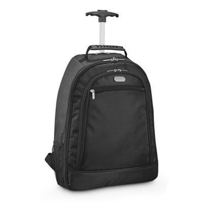 "- Mochila trolley para notebook 1680D e 600D, 2 rodas e compartimento principal almofadado para notebook 15.6"". Segundo compartimento forrado e com dive..."