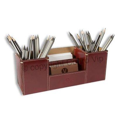 Couro Vip - Porta-canetas com diversas divisórias em couro legítimo.