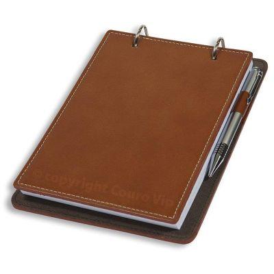 Couro Vip - Porta-bloco com caneta e 150 folhas.