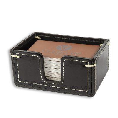 couro-vip - Porta cartão de Visita de mesa em couro legítimo com capacidade para aproximadamente 400 cartões