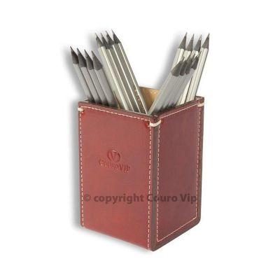couro-vip - Porta-canetas em couro personalizado.