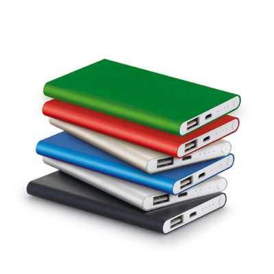 fly-brindes - Bateria portátil slim Bateria portátil slim. Alumínio. Bateria de lítio.  Capacidade: 4.400 mAh. Tempo de vida ≥ 500 ciclos.  Com entrada/saída...