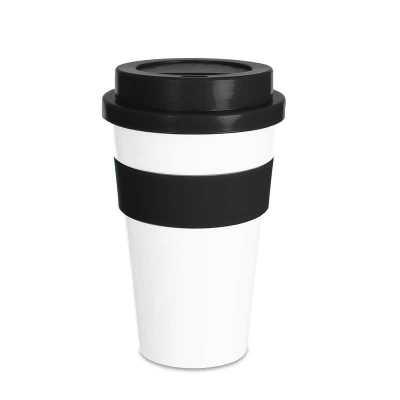 fly-brindes - Copo plástico 480ml com tampa. Produzido em polipropileno e livre de BPA, o copo possui uma luva de silicone (removível) que impede a transferência de...