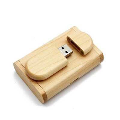 Kit pen drive madeira com estojo 4gb 8gb 16gb