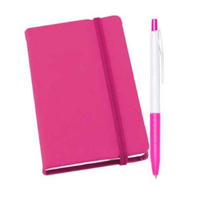 fly-brindes - Kit caderneta couro sintético e caneta plástica
