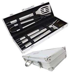 Fly Brindes - Kit Churrasco com 5 peças em maleta de alumínio.