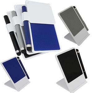 fly-brindes - Base para celular acompanha caneta touch e tamanho 6 cm x 11,8 cm.