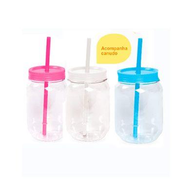 Fly Brindes - Pote plástico com tampa e canudo