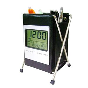 fly-brindes - Relógio digital com termômetro, alarme, data e porta canetas.
