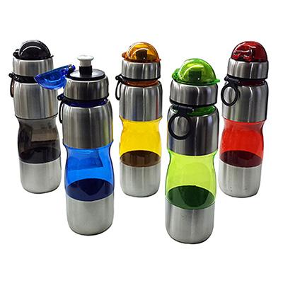 Squeeze inox com acrílico resistente e capacidade de 600 ml.