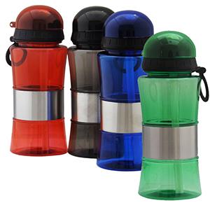 fly-brindes - Squeeze de plástico resistente com detalhes em inox e capacidade 400 ml.
