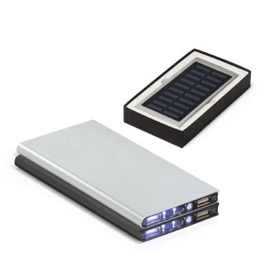seleta-brindes - Bateria portátil. Alumínio. Acabamento emborrachado. Com painel solar e LED. Bateria de lítio. Capacidade: 8.000 mAh. Tempo de vida ≥ 500 ciclos...