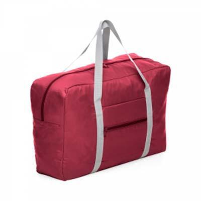 Bolsa de viagem dobrável confeccionada em poliéster e alça para mãos em nylon.